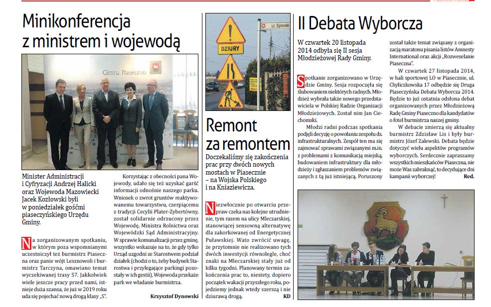 """Przegląd Piaseczyński - 27.11.2014 - """"II debata wyborcza"""""""
