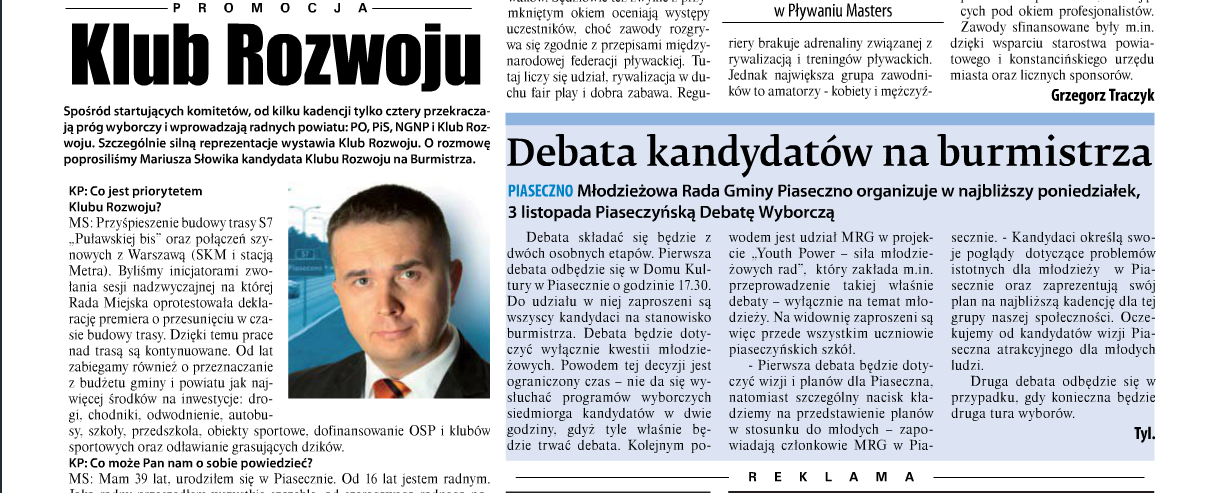 """Kurier Południowy - 31.10.2014r. - """"Debata kandydatów"""" - o debacie organizowanej przez MRG"""