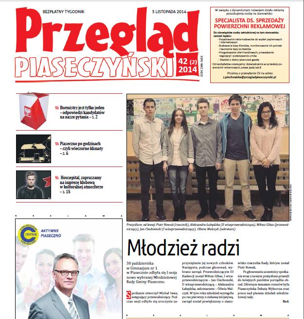 """5.11.2014 - """"Młodzież Radzi"""" - artykuł o pierwszej sesji trzeciej kadencji"""