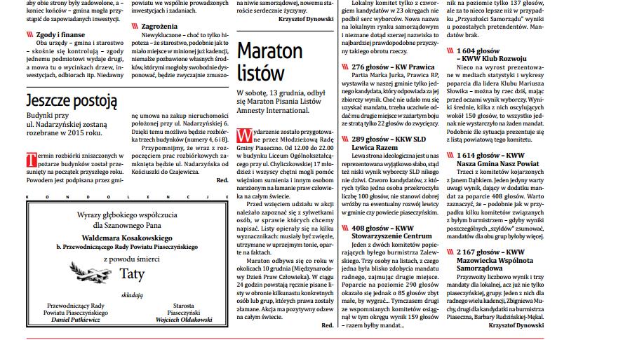 "17.12.2014r. - ""Maraton listów"""