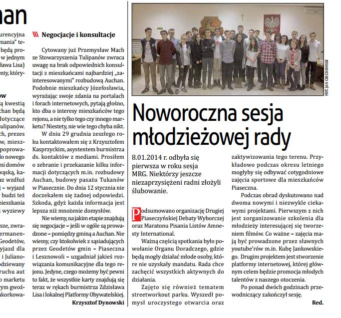 """Przegląd Piaseczyński - """"Noworoczna sesja młodzieżowej rady"""" -14.01.2015r."""